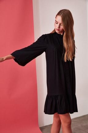 TRENDYOLMİLLA Siyah Geniş Kesim Gömlek Elbise TWOAW21EL0169 4