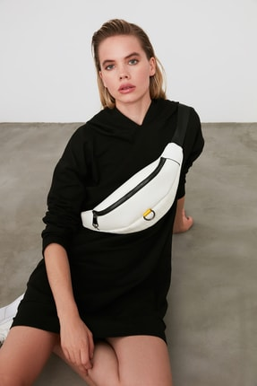 TRENDYOLMİLLA Siyah Kapüşonlu Örme Sweat Elbise TWOAW20EL1554 2