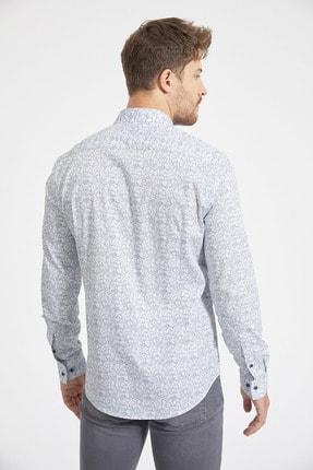 Avva Erkek Açık Mavi Baskılı Alttan Britli Yaka Slim Fit Garnili Gömlek A02Y2070 2