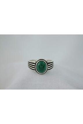 GİZA SİLVER Yeşil Akik Taşlı 925 Ayar Gümüş Erkek Yüzük 0