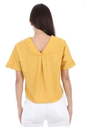 Bigdart Kadın Sarı Tek Cep Düğmeli Kısa Kol Bluz 0358 3