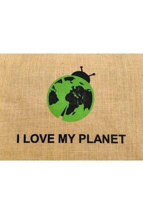 Doğal Atölye Kadın Kahverengi I Love My Planet Baskılı Jüt Çanta 2