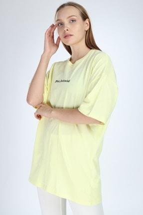 Millionaire Kadın Sarı Stay Antisocial Baskılı Oversize T-shirt 0