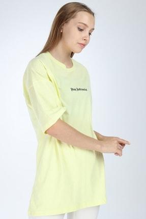 Millionaire Kadın Sarı Stay Antisocial Baskılı Oversize T-shirt 1