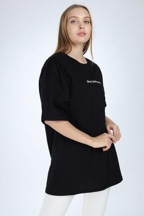 Millionaire Kadın Siyah Stay Antisocial Baskılı Oversize T-shirt 2