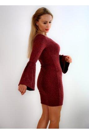 Md1 Collection Kadın  Volanlı V Yaka Esnek Triko Bordo Elbise 4