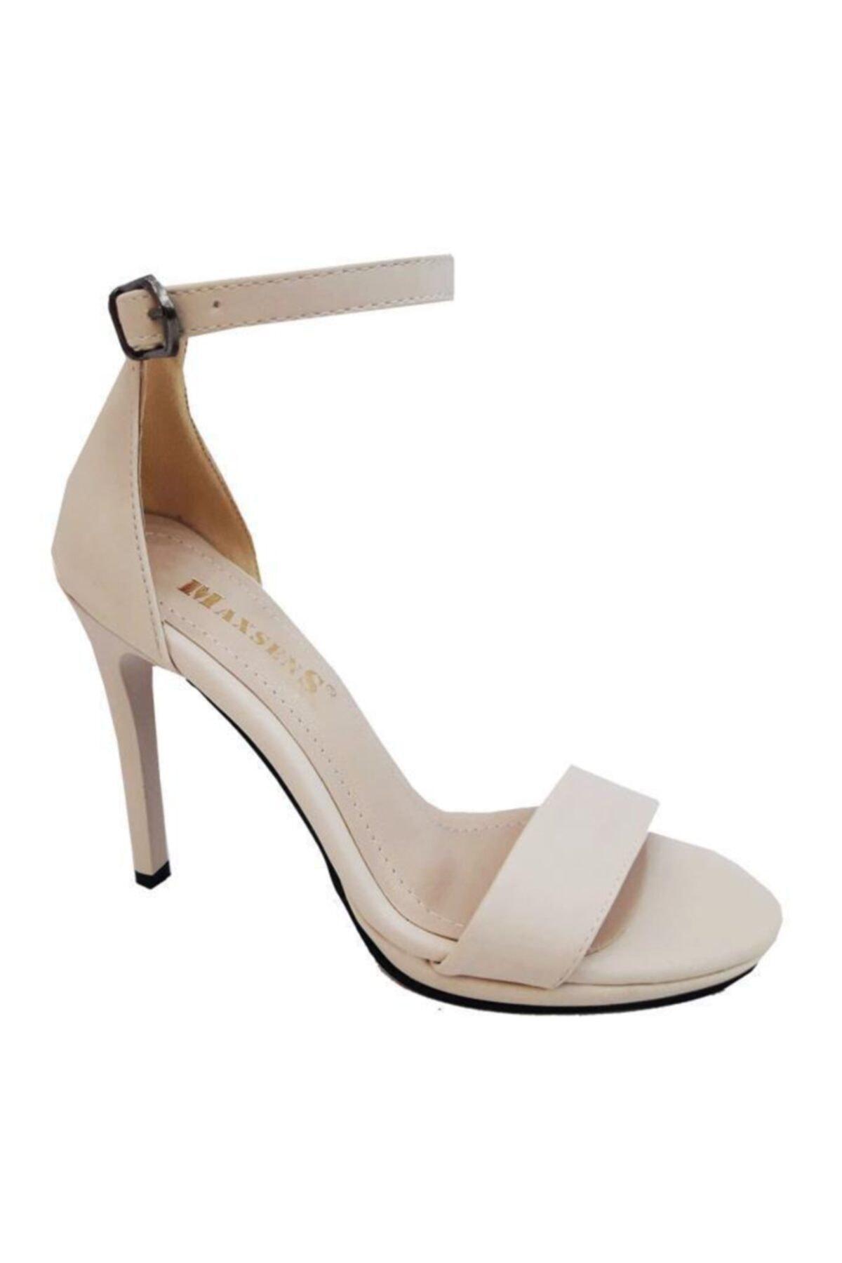 GİZEM Kadın Siyah Deri Sivri Topuklu Sandalet Maxsens 802