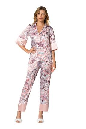 MOONGIRL Kadın Renkli Saten Pijama Takım 0