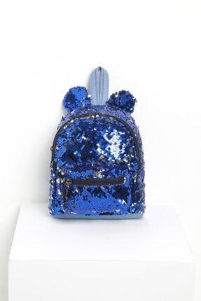 Nanu Kız Çocuk Mavi Çift Taraflı Pul Payetli Çanta 0