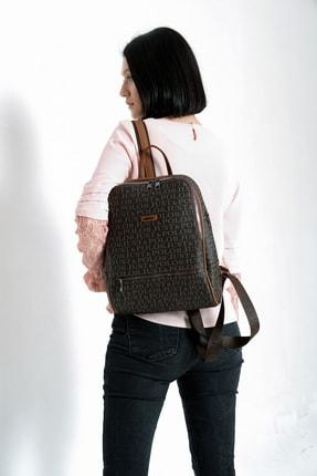 Just Polo Kadınk Kahverengi-taba Baskılı Sırt Çanta 2