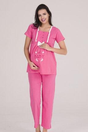 Sevil Giyim Kadın Pembe 4 Düğmeli Fiyonklu Nakışlı Hamile Pijama Takımı 0