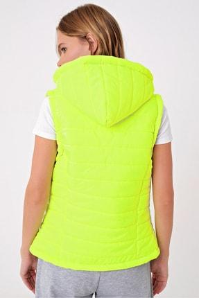 Trend Alaçatı Stili Kadın Neon Yeşili Termal İç Astarlı Şişme Yelek Mont ALC-X5008 3