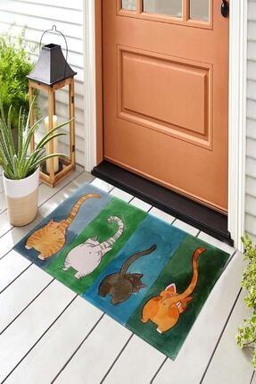 Evsebu Renkli Kediler Dekoratif Kapı Önü Paspası 1