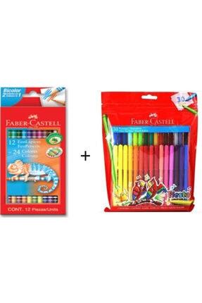 Faber Castell 12+24 Bicolor Kuru Boya + Fiesta 30 Renk Keçeli Kalem 0