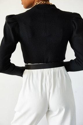 Xena Kadın Siyah Omuzları Büzgülü Bluz 1KZK3-10750-02 4