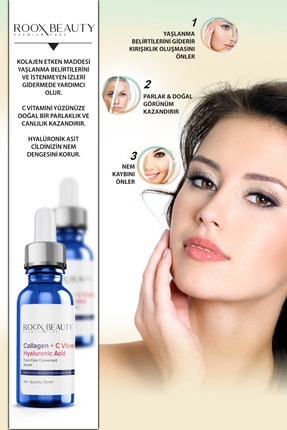 Roox Beauty Kolajen - C Vitamini - Hyaluronik Asit Aydınlatıcı Ve Kırışıklık Karşıtı Yüz Serumu 30 Ml 1