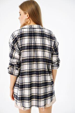 ŞİMAL Kadın Çift Cepli Ekoseli Oversize Oduncu Gömlek 4