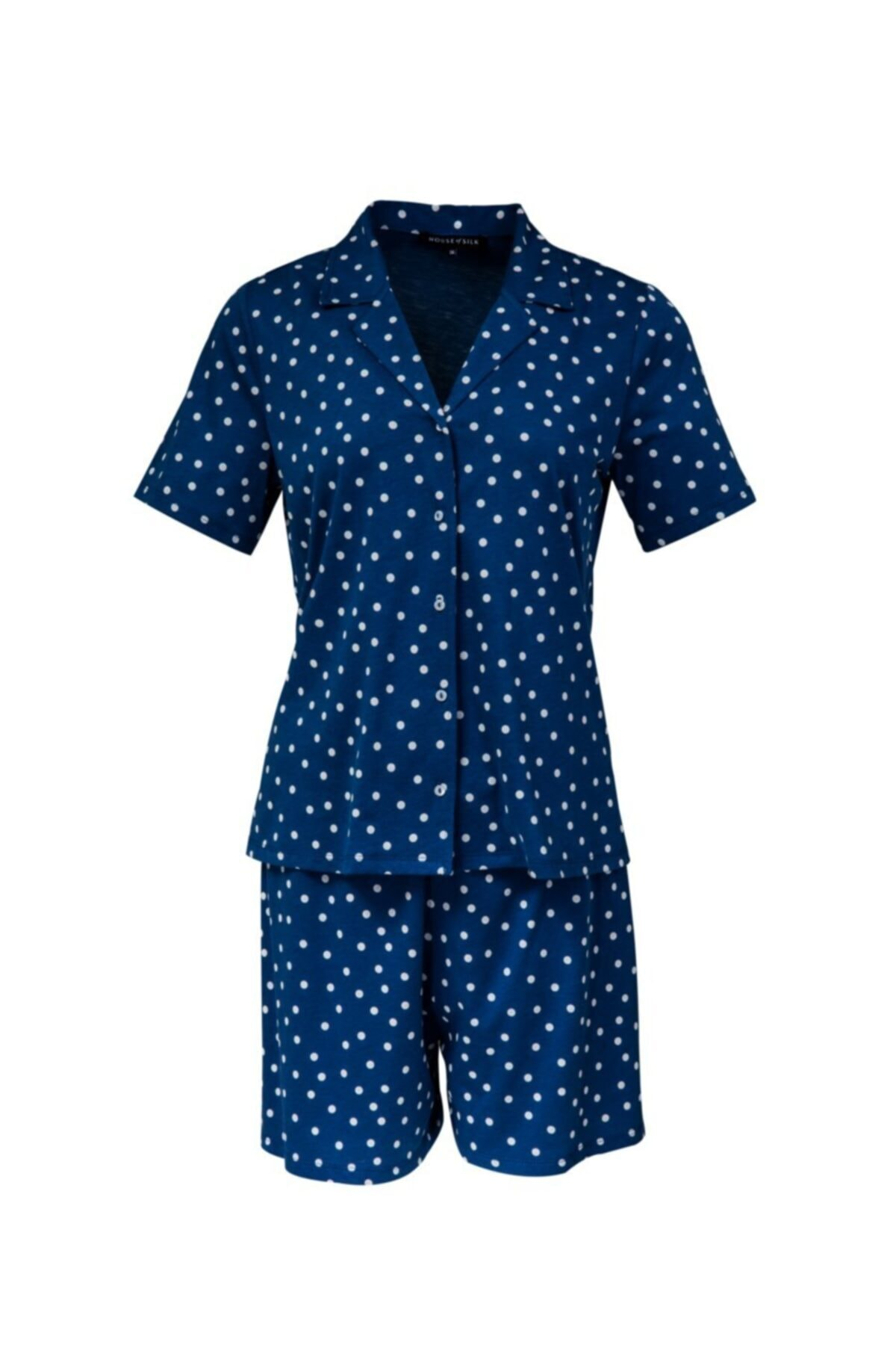 House of Silk Yumuşak Puantiye Baskılı Esnek Pijama
