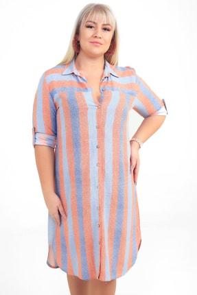 Picture of Kadın Kiremit Renkli Çizgili Viskon Büyük Beden Gömlek Elbise S-20Y3570007