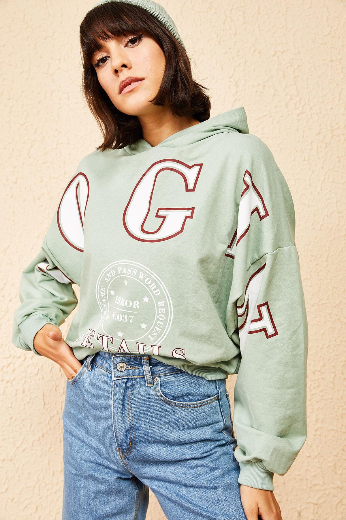 Bianco Lucci Kadın Mint Yeşili Kapüşonlu Yeşil Login Baskılı Oversize Sweatshirt 10121035 2