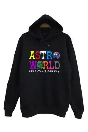 The Fame Unisex Siyah Astroworld Look Mom I Can Fly Travis Scott Kapüşonlu Sweatshirt 0