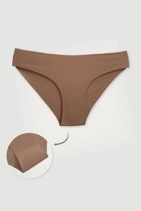 Gleemod Kadın Kahve 3'lü Lazer Kesim Bikini Külot 2