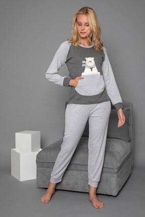 Strawberry Kadın Gri Pamuklu Interlok Pijama Takimi 2
