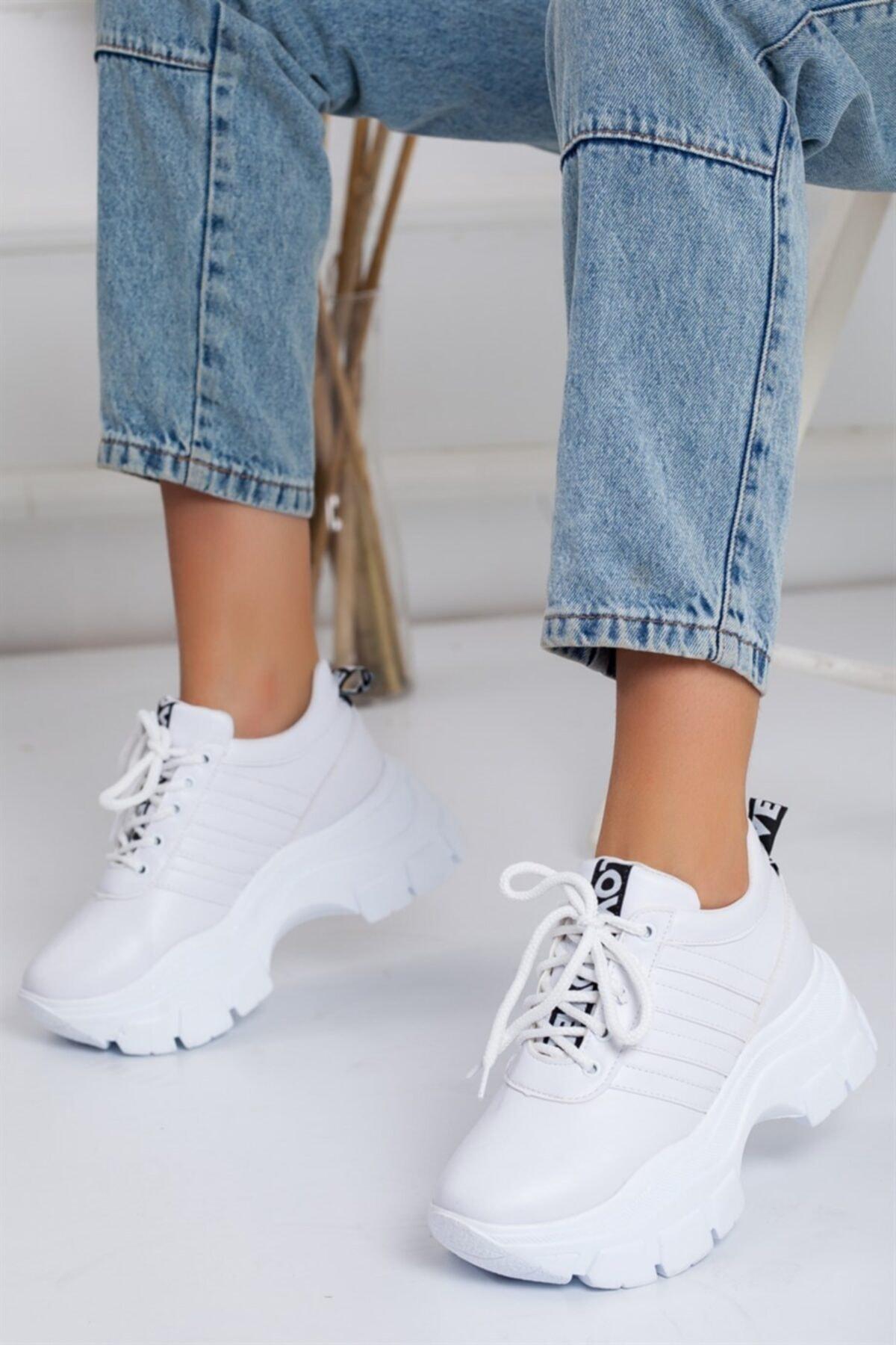 Lovita Shoes Kadın Beyaz Kalın Taban Sneakers