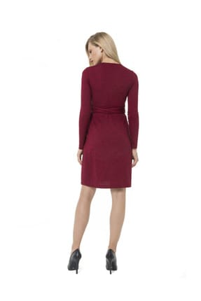 Accouchee Kırmızı-Siyah Emzirme Özellikli Hamile Elbisesi 3