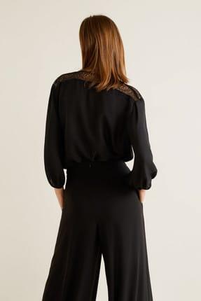 Mango Kadın Siyah Dantel Aplikeli Bluz 43027795 2
