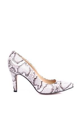 Dgn Beyaz Yılan Kadın Klasik Topuklu Ayakkabı 200-148 1