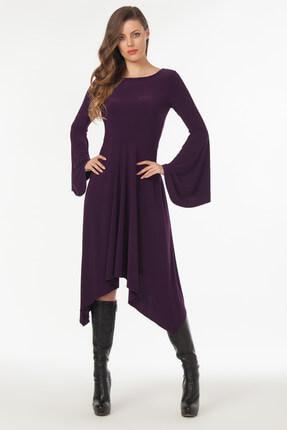 Laranor Kadın Mürdüm Asimetrik Kesim Elbise 19L6477 0