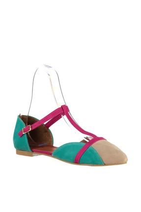 Fox Shoes Ten Fuşya Yeşil Kadın Ayakkabı B726881802 3
