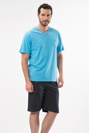 تصویر از Erkek A.Mavi Şantuklu V Yaka Nakışlı Bermuda Tk (%100 Pamuk) 2138