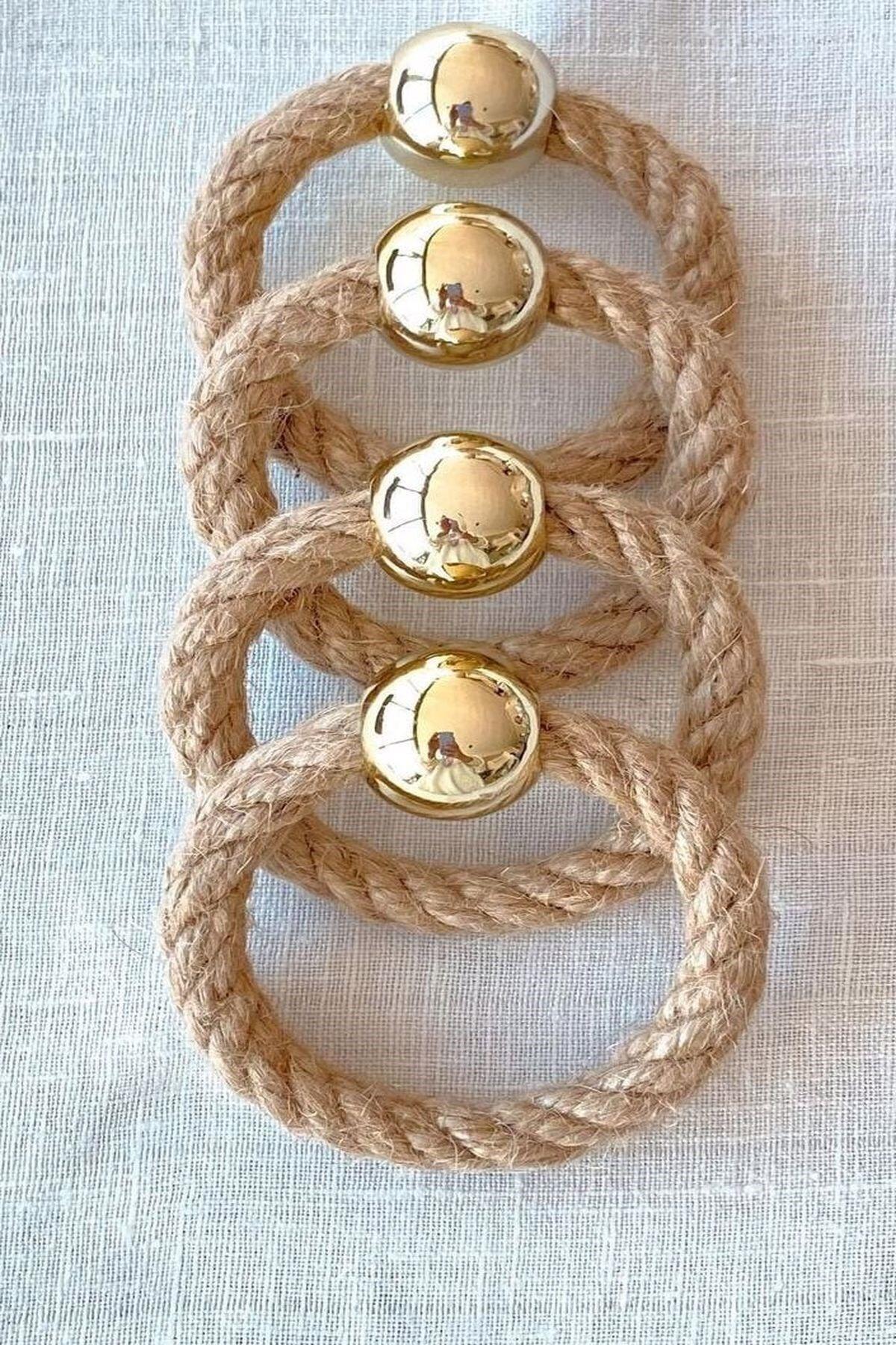 12 Adet Hasır Halka Gold Boncuklu Peçete Yüzüğü