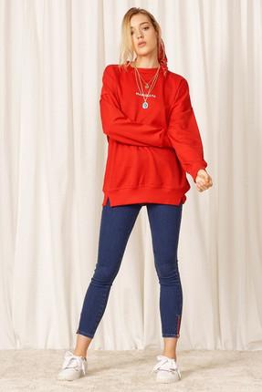 Eka Kadın Kırmızı Uzun Kol Sweatshirt 0302-9019 1
