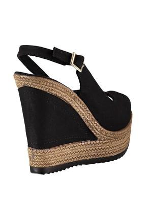 Fox Shoes Siyah Kadın Dolgu Topuklu Ayakkabı 9674070805 2