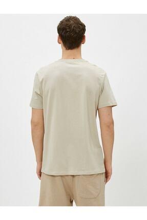 Koton Erkek Ekru Bisiklet Yaka T-Shirt 3