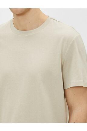 Koton Erkek Ekru Bisiklet Yaka T-Shirt 4