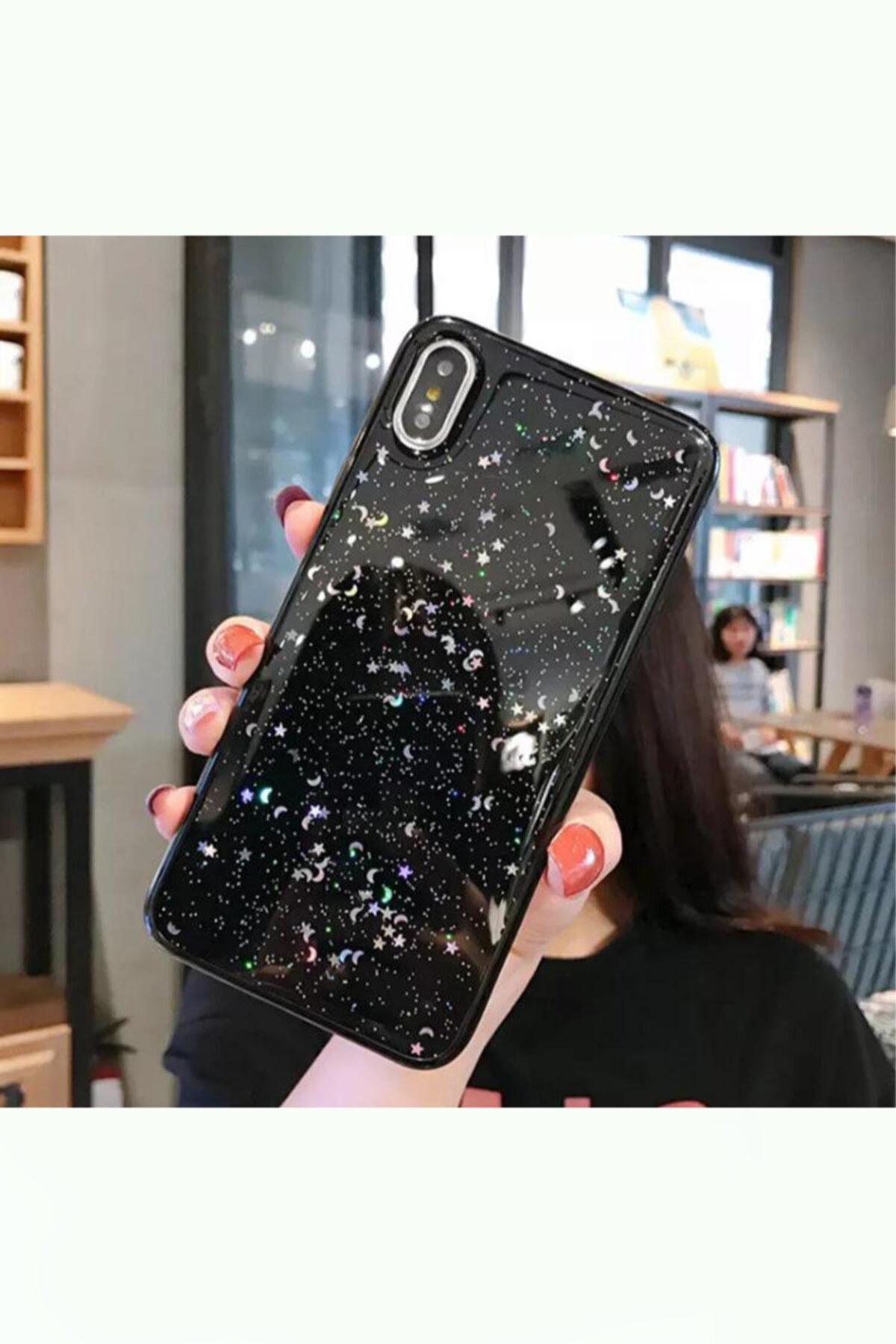 Apple Iphone X - Xs Siyah Simli Silikon Telefon Kılıfı