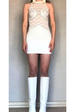 Dantelli Sırt Dekolteli Beyaz Elbise dantelli sırt dekolteli beyaz