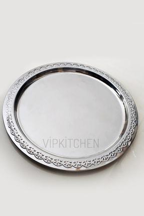 Vipkitchen 6'lı Yuvarlak Gümüş Servis Sunum Tepsisi 24 Cm 1