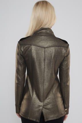 Hanna's Kadın Dore Önden Cep Detaylı Varak Baskılı Ceket  Hn468 3