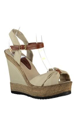 Fox Shoes Bej Kadın Dolgu Topuklu Ayakkabı 9674071005 3
