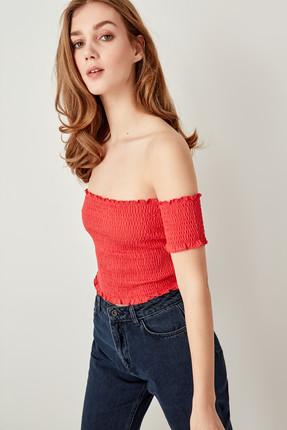 TRENDYOLMİLLA Kırmızı Gipeli Örme Bluz TWOSS19RG0002 2
