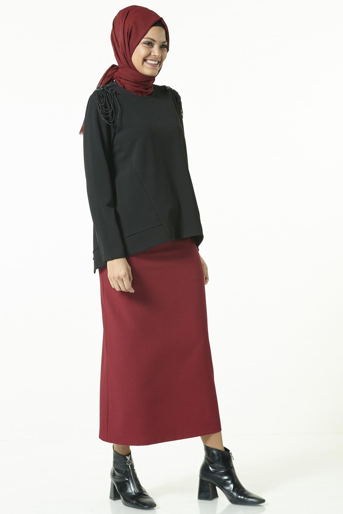 Boncuk Detaylı Bluz 8k3525 Siyah