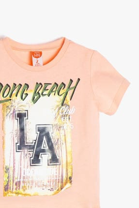 Koton Turuncu Erkek Bebek Yazılı Baskılı T-Shirt 4