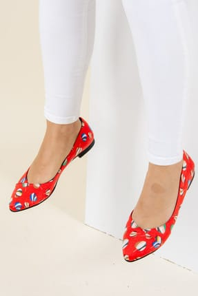 Fox Shoes Kırmızı Kadın Babet F726803204 1