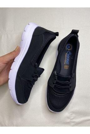 AYŞEM Beyaz Tabanlı Siyah Ortopedik Günlük Ayakkabı 1