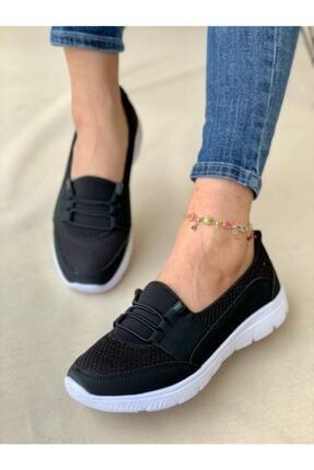 AYŞEM Beyaz Tabanlı Siyah Ortopedik Günlük Ayakkabı 2
